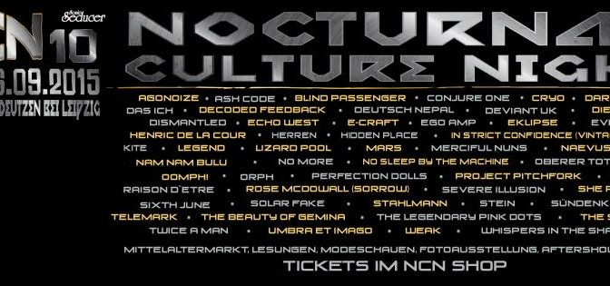 Schloss Tegal will perform at Nocturnal Culture Night Festival X Leipzig – September 4, 2015